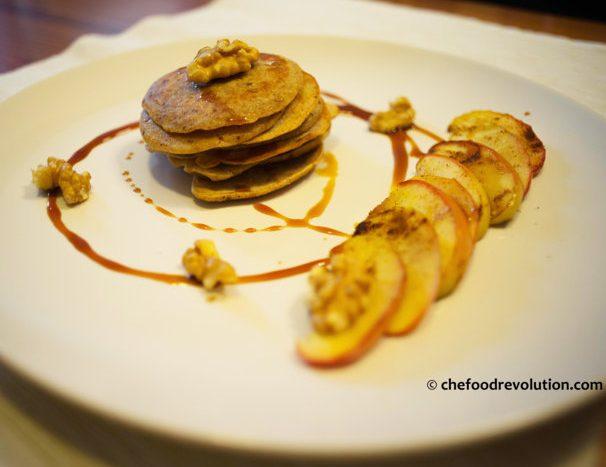 Vegan pancakes with apple and grape molasses