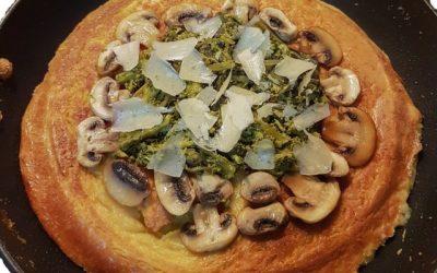 Farinata di ceci broccoletti e funghi