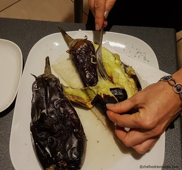 cleaning the eggplants