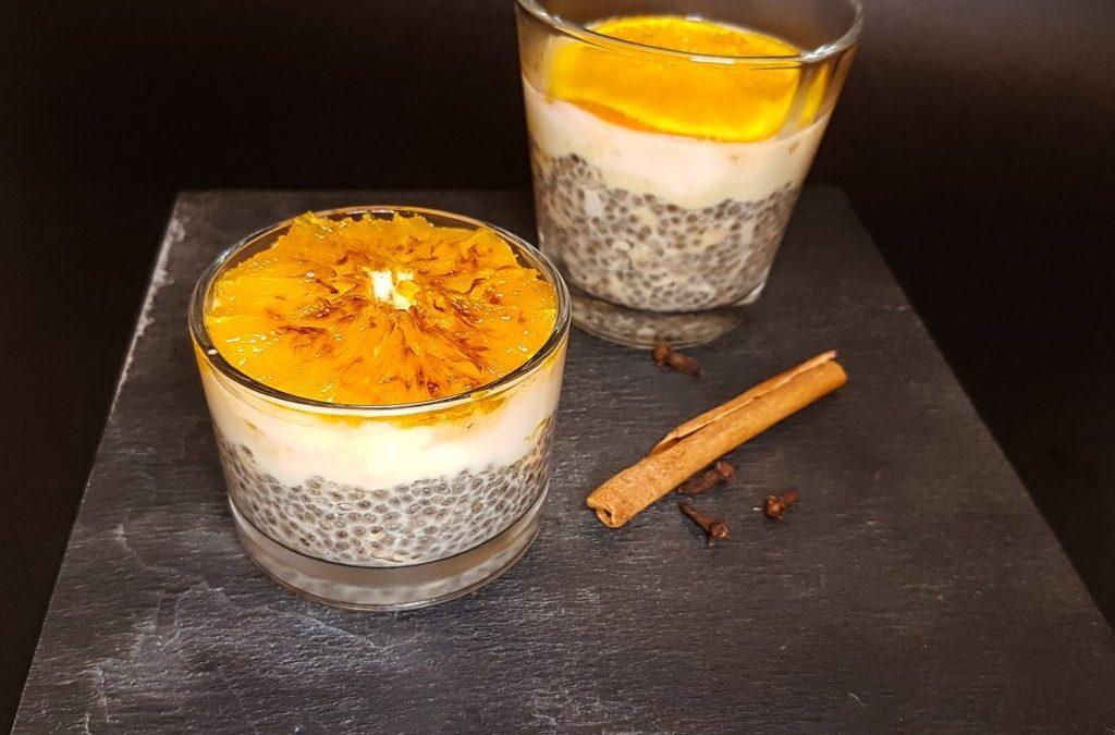 Budino con semi di chia, arancia e cannella