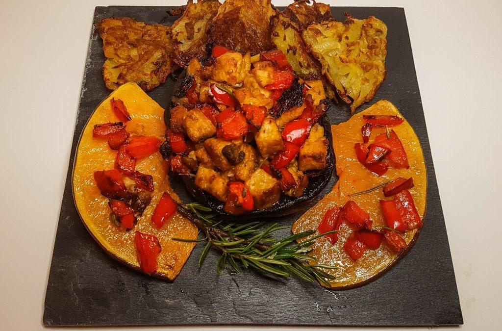 Pepper Stuffed Portobello mushrooms with rösti: welcome Autumn!