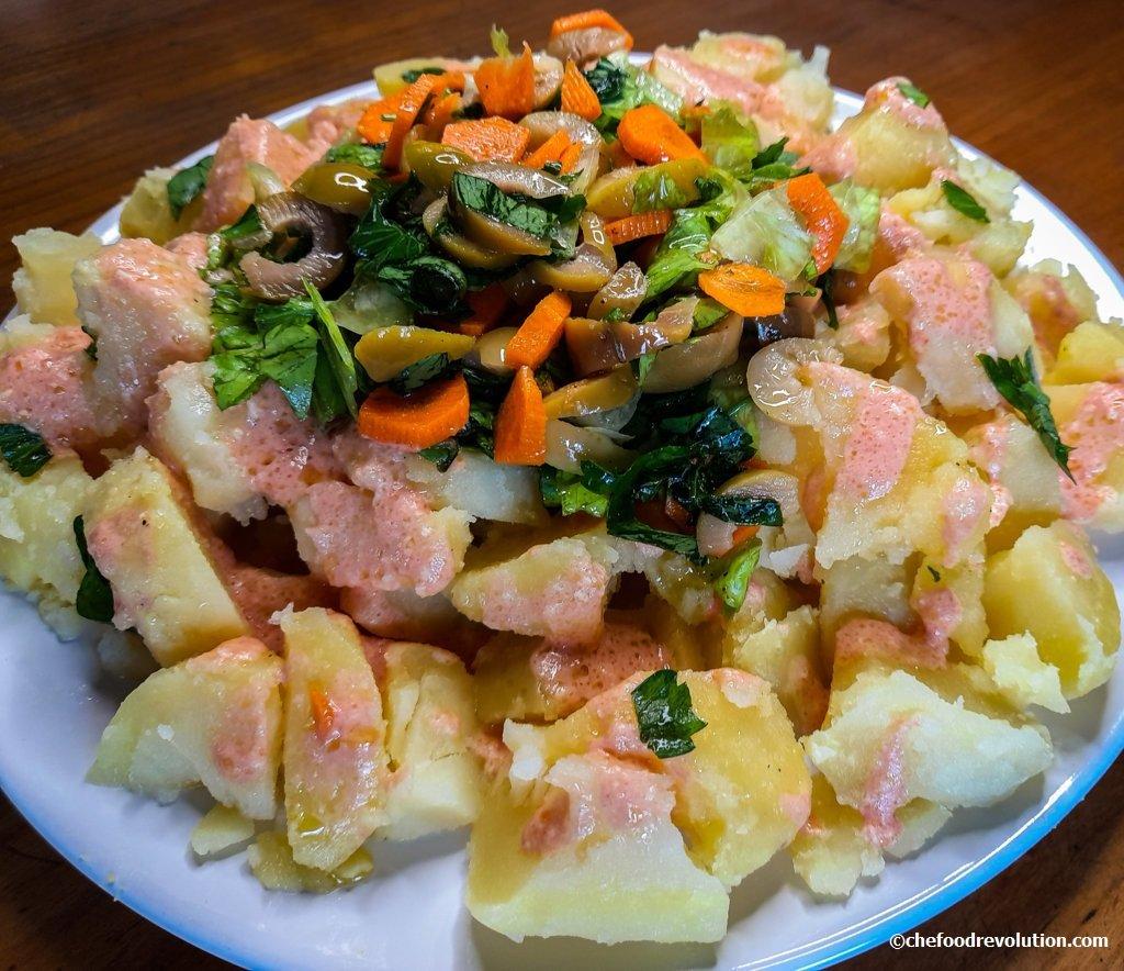 Insalata di patate con salsa rosa a basso indice glicemico