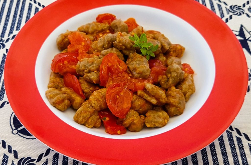 Vegan Gnocchi of Eggplant and Whole wheat flour, with tomato sauce