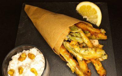 Frittura vegetariana di Pesciolini dell'Orto con salsa tarator turca
