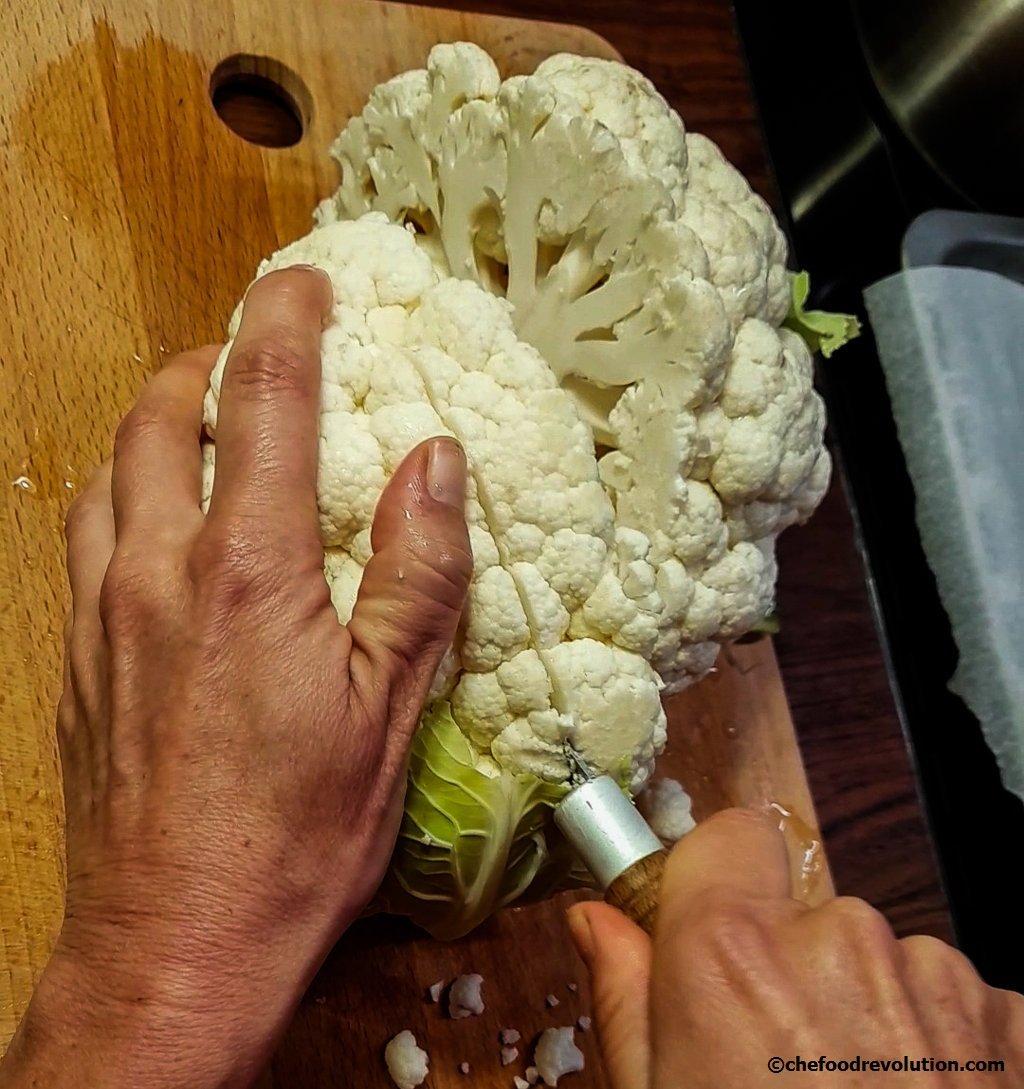 how to cut the cauliflower