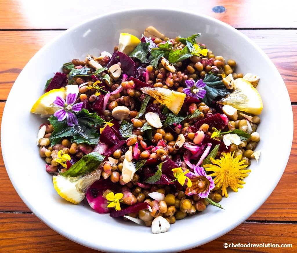 mung bean salad with flowers and wild herbs