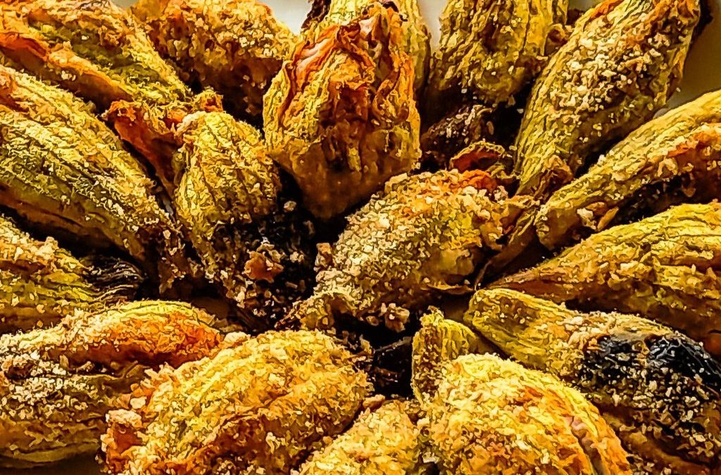 Stuffed Zucchini flowers (blossoms) with smoked cottage cheese