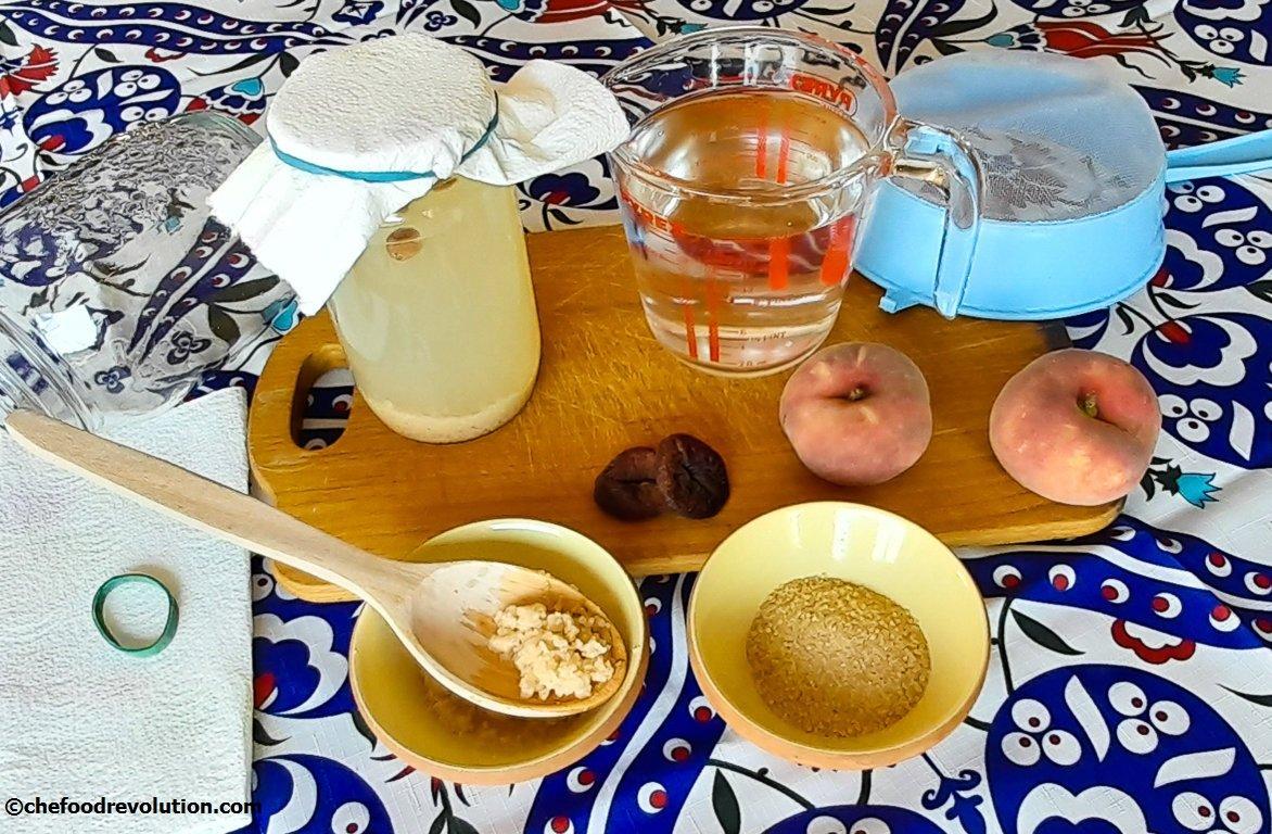 ingredients for the preparation of water kefir