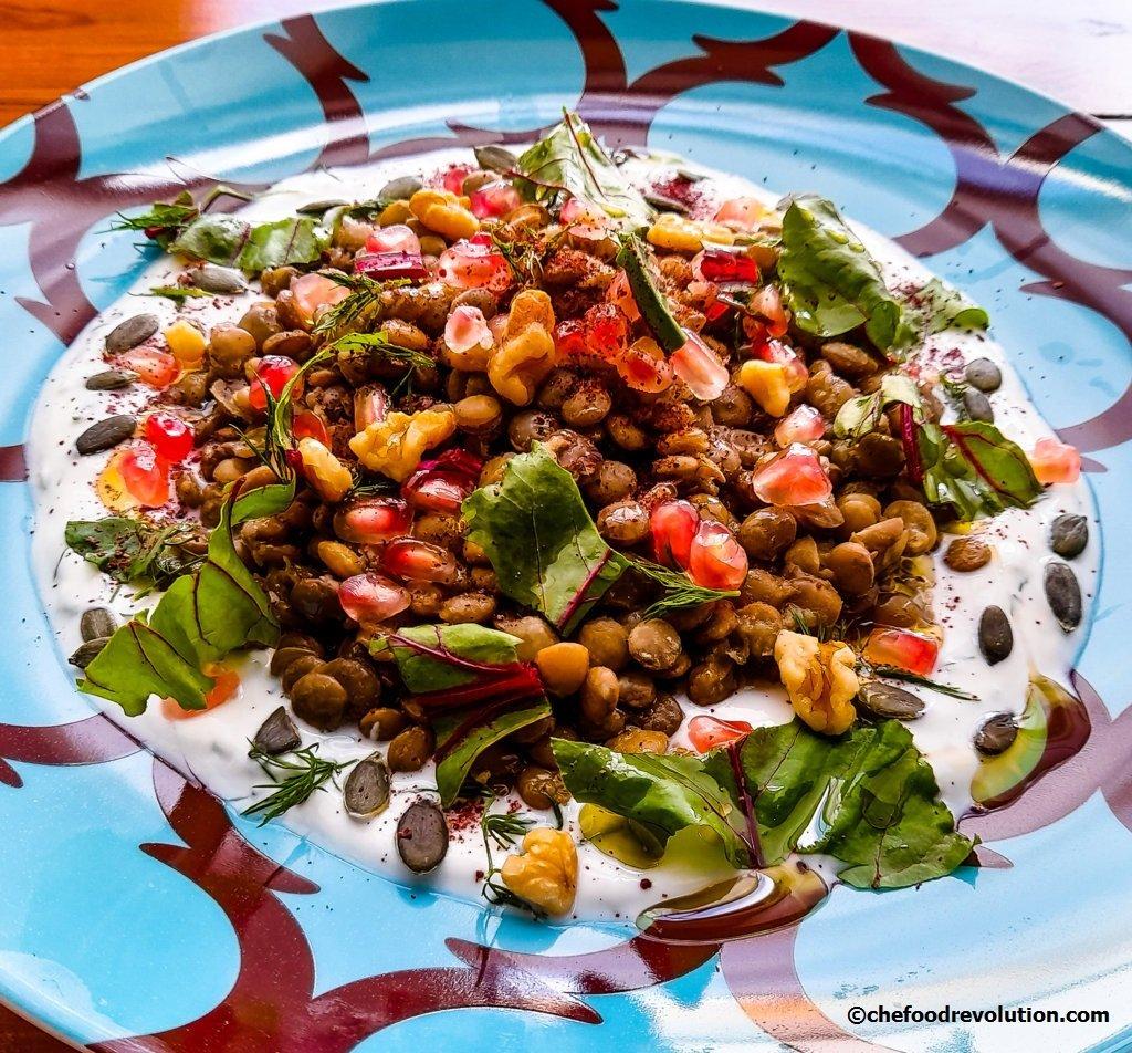 Lentil salad with yogurt and tahini dressing